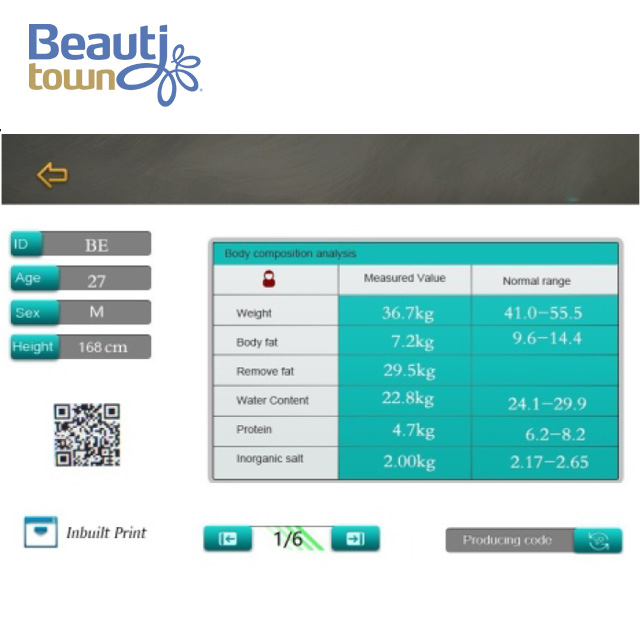 Professional Intelligence BMI Analyzer Equipment Built-in Printer